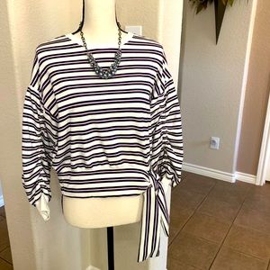 Kenzie blue/pink stripe French terry cloth sweater